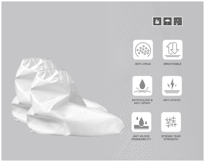 DISPOSABLE PROTECTIVE SHOE COVERS- -MID